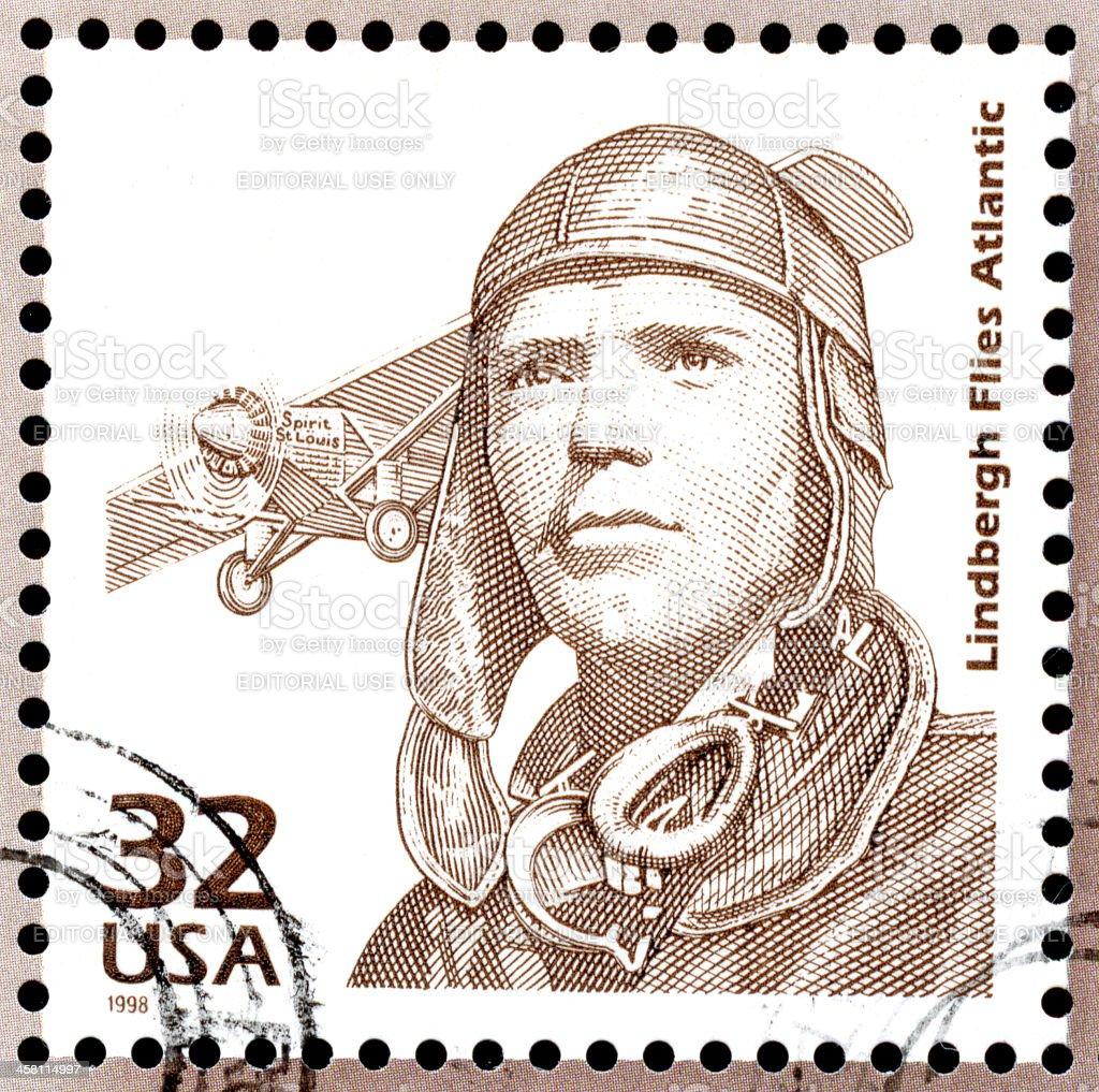 Charles Lindbergh USA Postage Stamp stock photo