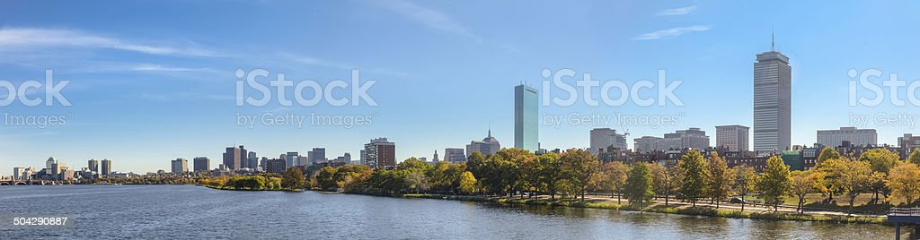 Charles River and Boston Cityscape in the Autumn - Panorama stock photo