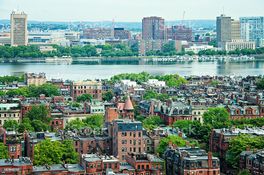 Charles River and Boston Panorama royalty-free stock photo