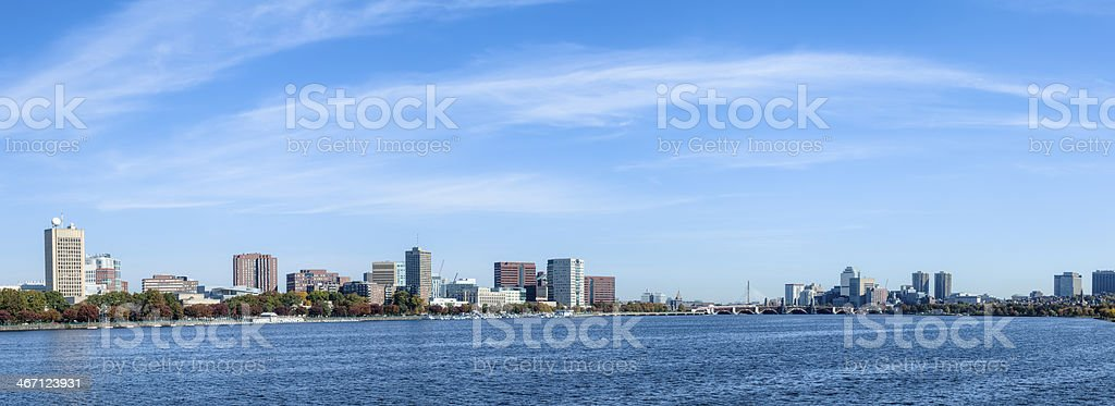 Charles River and Cambridge Cityscape - Panorama royalty-free stock photo