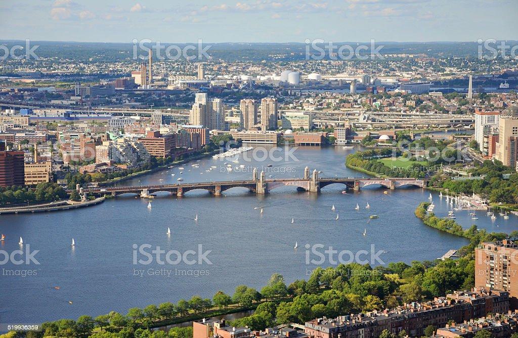 Charles River and Longfellow Bridge, Boston stock photo