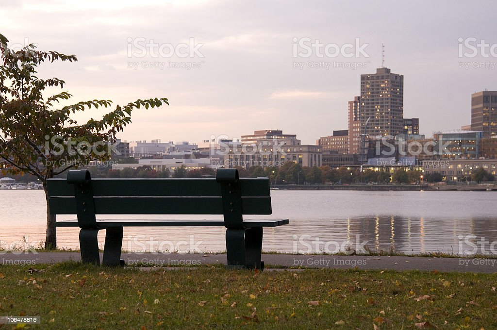 Charles River with Bench at Sunset royalty-free stock photo