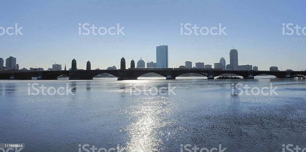 Charles River with Boston skyline royalty-free stock photo