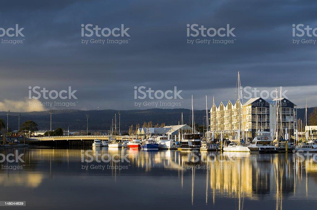 Charles Street Bridge and seaport, Launceston, Tasmania stock photo