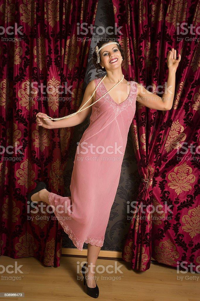 Charleston dancing in flapper dress stock photo