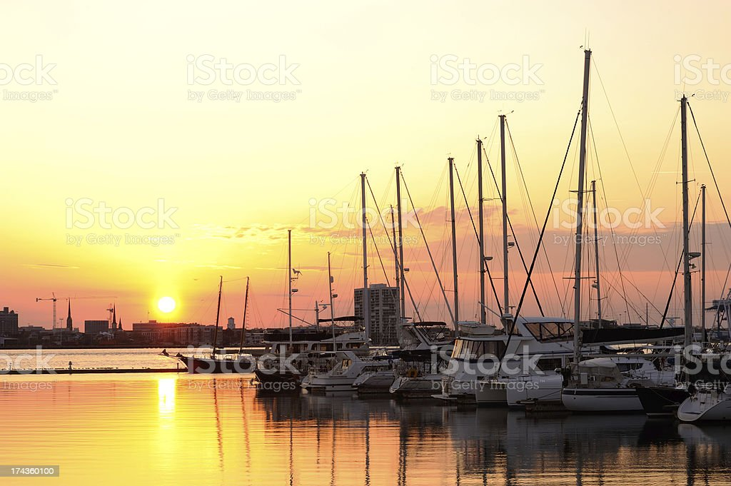 Charleston Harbor at Sunset royalty-free stock photo