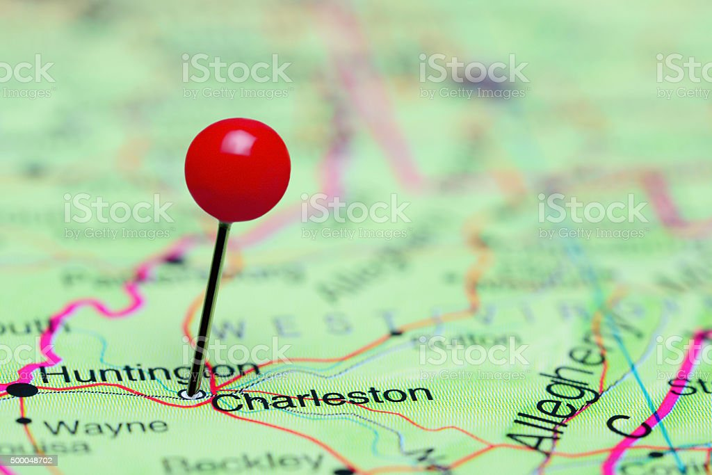 Charleston pinned on a map of USA stock photo