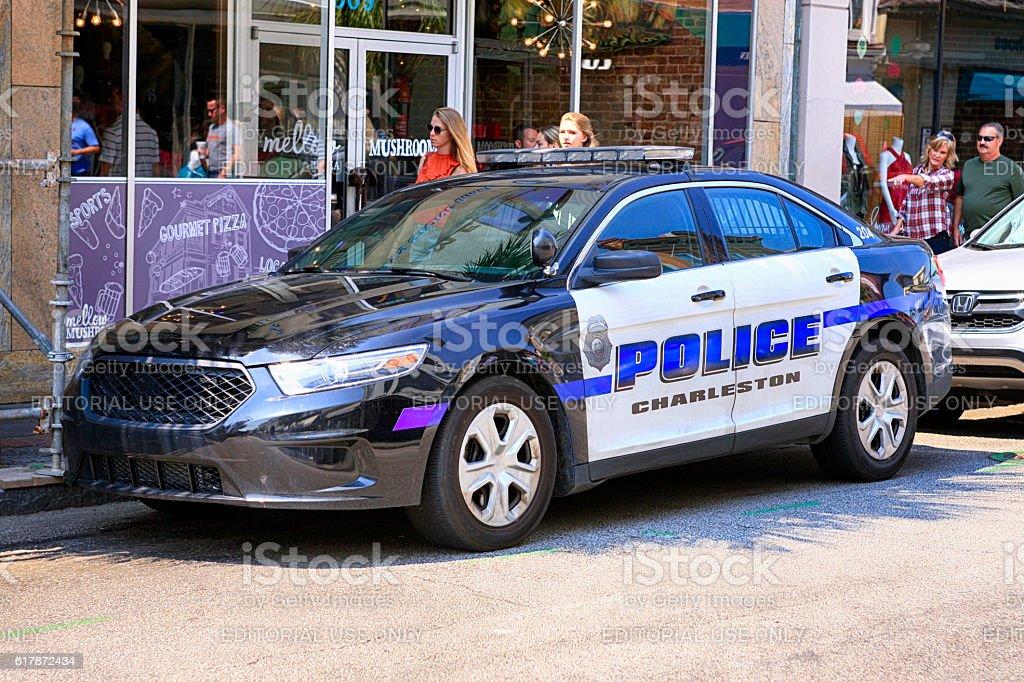 Charleston Police vehicle parked on King Street in Charleston SC stock photo