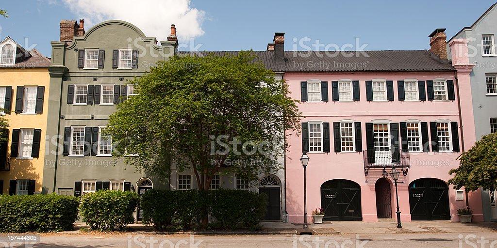 Charleston Rainbow Row Houses royalty-free stock photo