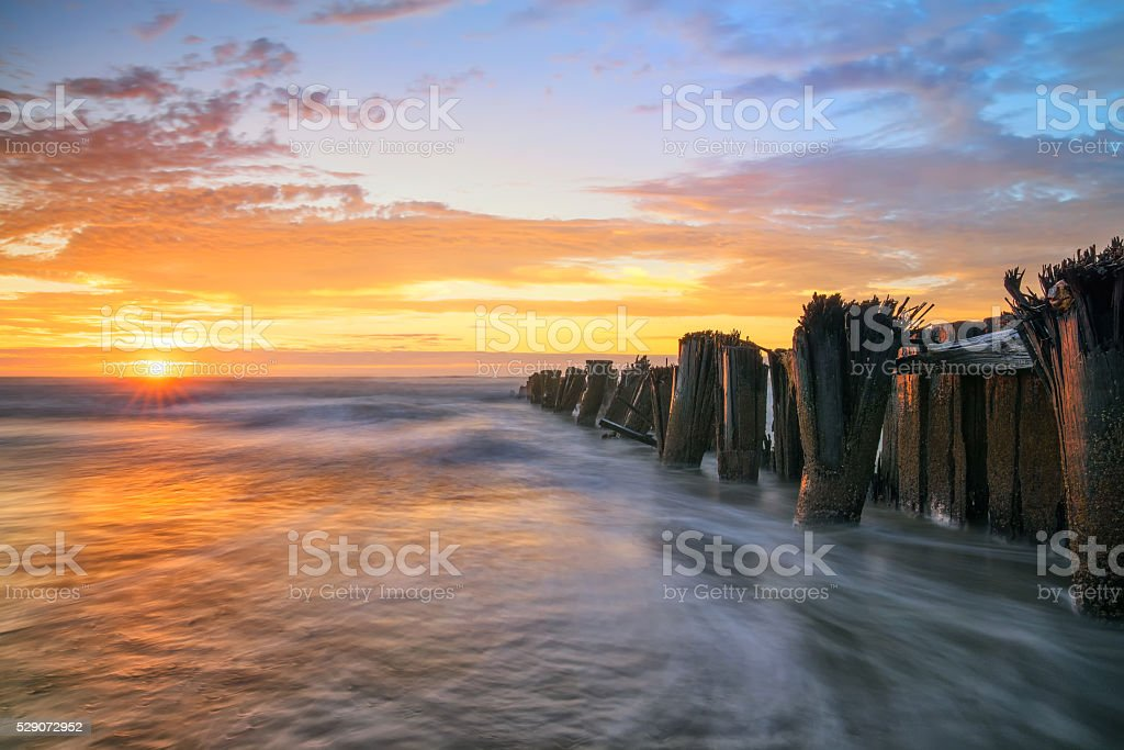 Charleston Sc Folly Beach Sunrise Jetty Lowcountry Scene stock photo