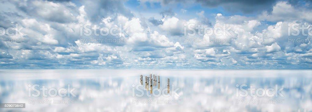 Charleston, SC Lowcountry ACE Basin Reflective Landscape Scene stock photo