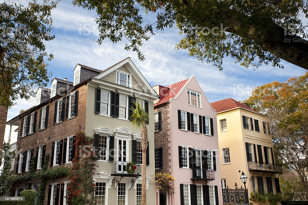 Charleston SC Rainbow Row stock photo