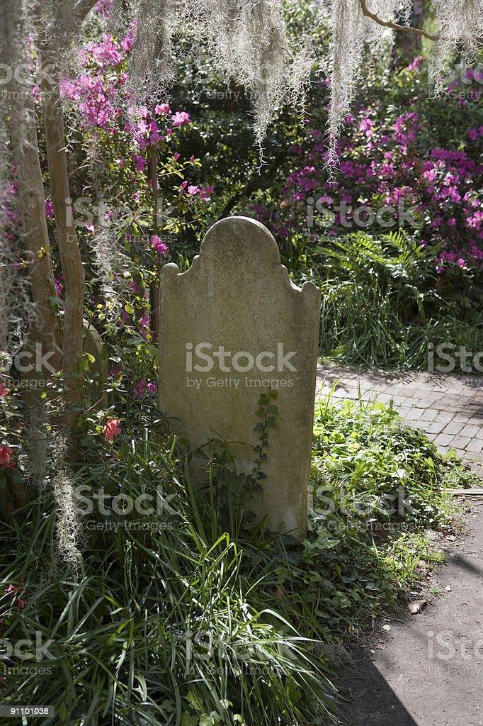 Charleston, S.C. Unitarian Church Grave w/ moss stock photo