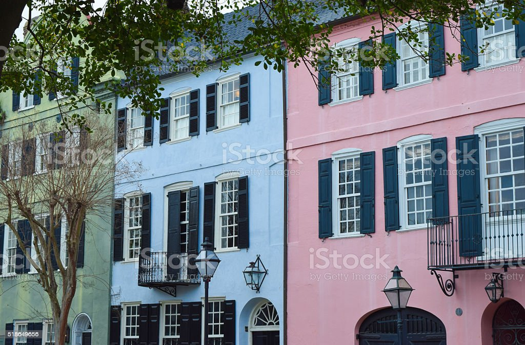 Charleston, South Carolina - Colonial Houses stock photo