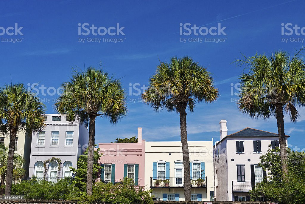 Charleston, South Carolina Colorful Homes stock photo