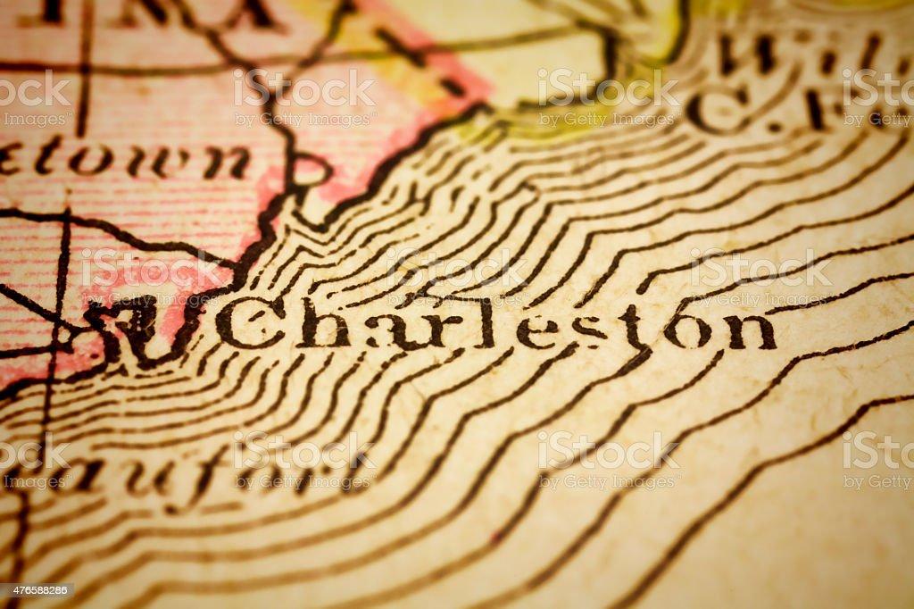 Charleston, South Carolina on an Antique map stock photo