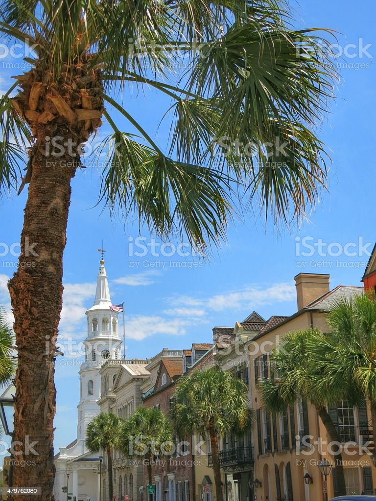 Charleston, South Carolina Palm Tree Street and White Church Steeple stock photo