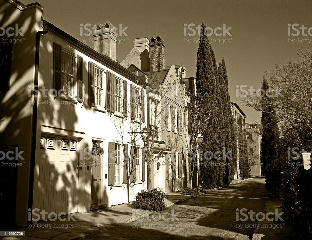 Charleston Street In Sepia Tone royalty-free stock photo