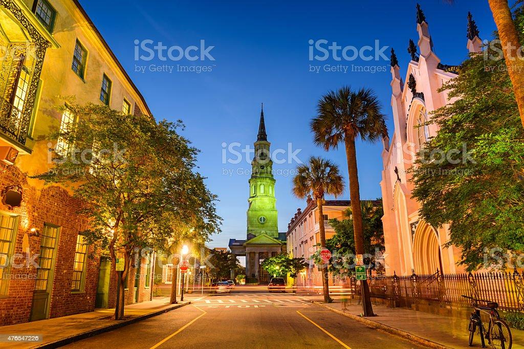 Charleston Street View and Church stock photo