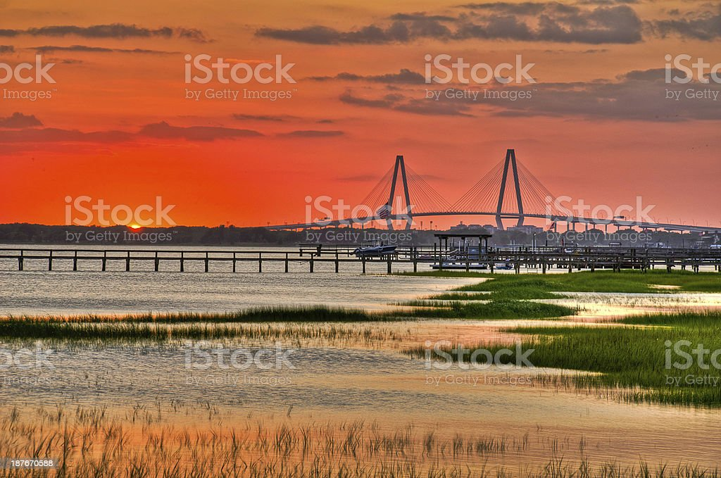 Charleston Sunset stock photo