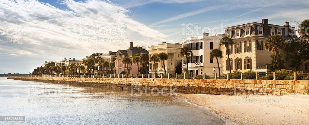 Charleston waterfront in the morning panorama stock photo