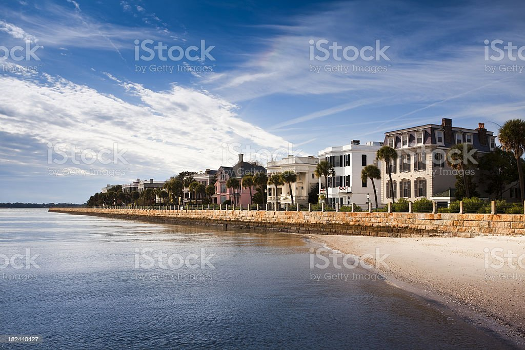 Charleston waterfront in the morning stock photo