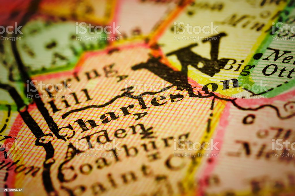 Charleston, West Virginia on an Antique map stock photo