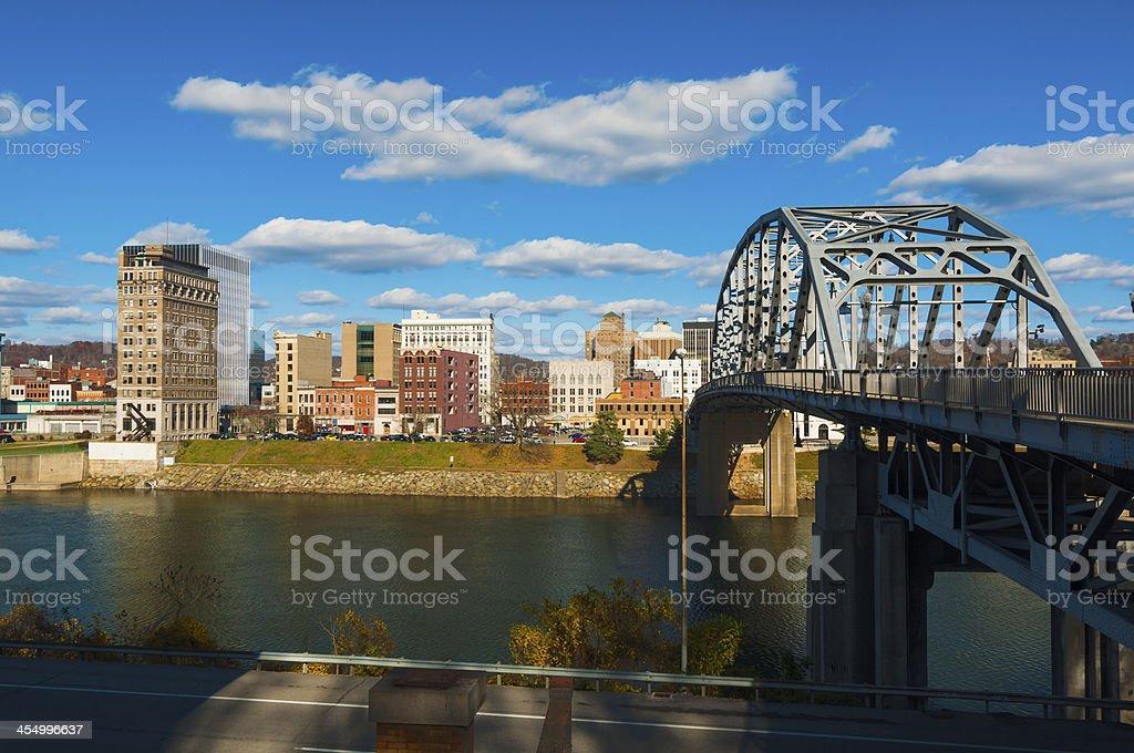 Charleston, WV skyline, river, and bridge stock photo