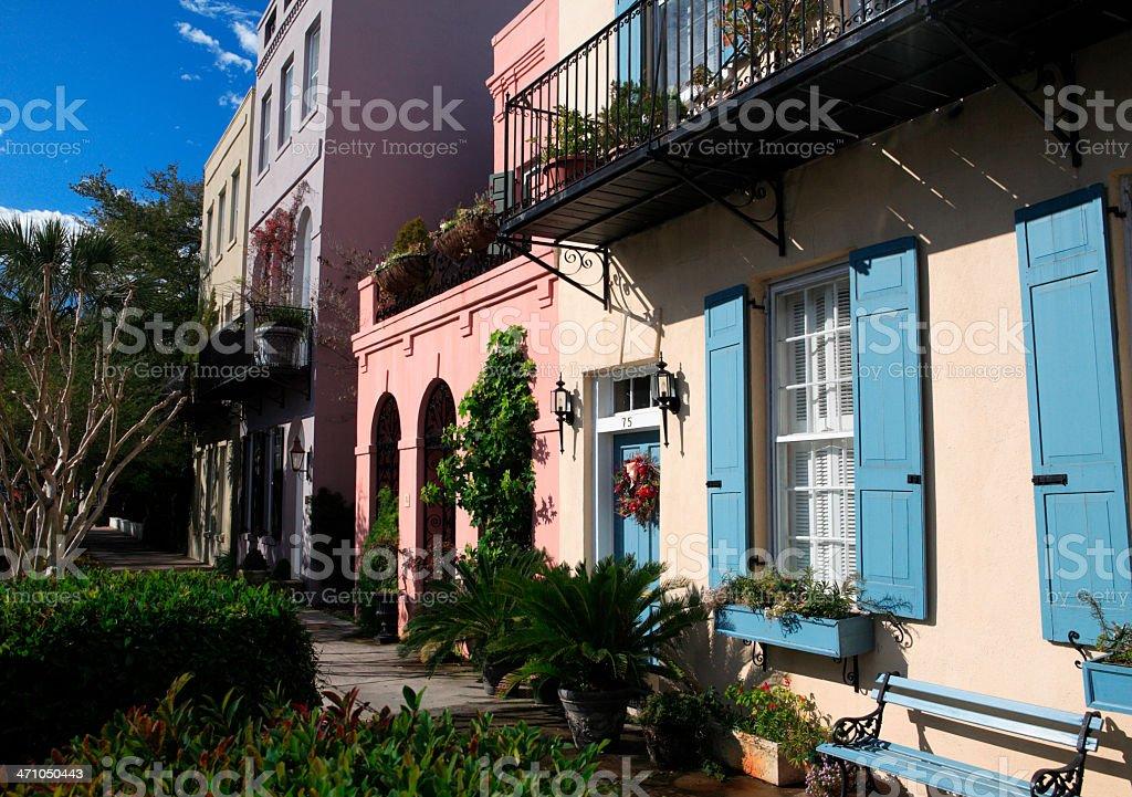 Charleston's Rainbow Row (landscape) royalty-free stock photo