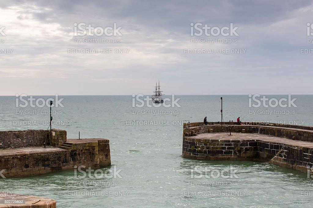 Charlestown Harbour - Cornwall stock photo