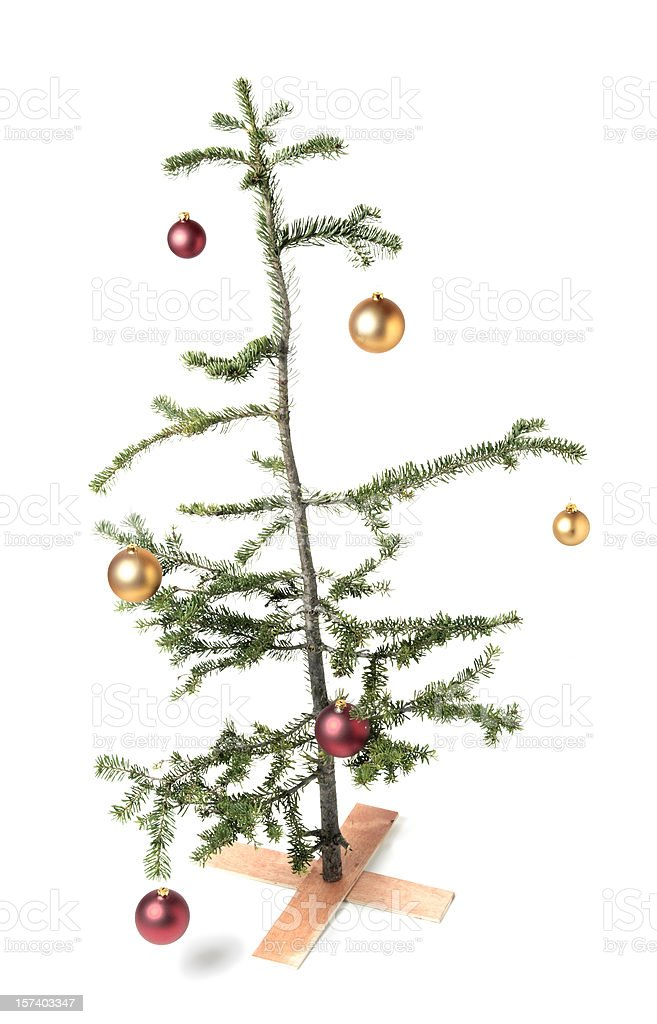 Charlie Brown-style Christmas tree, a symbol of tough economic times? stock photo