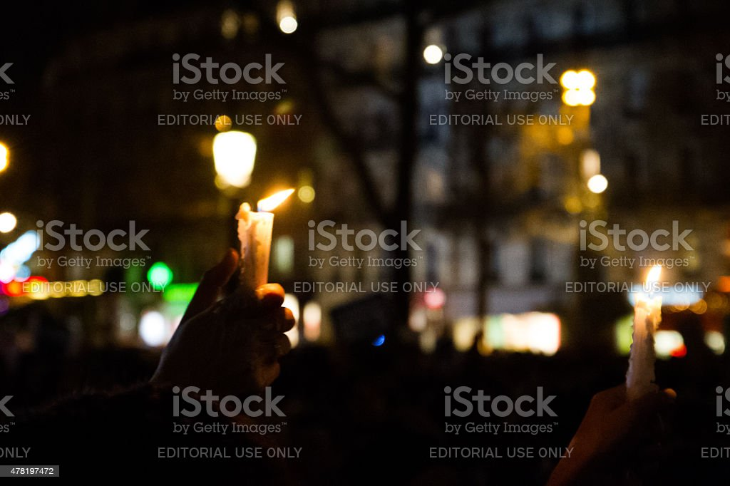 Charlie Hebdo protests royalty-free stock photo