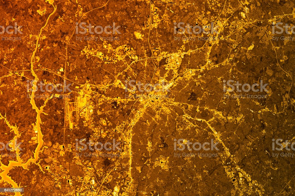 Charlotte Abstract City Map Golden stock photo