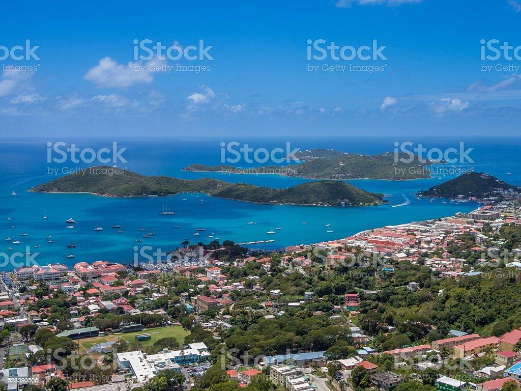 Charlotte Amalie panoramic view stock photo