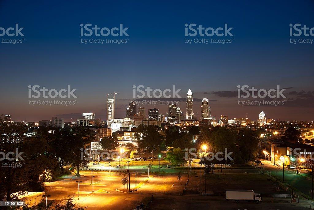 Charlotte at night stock photo