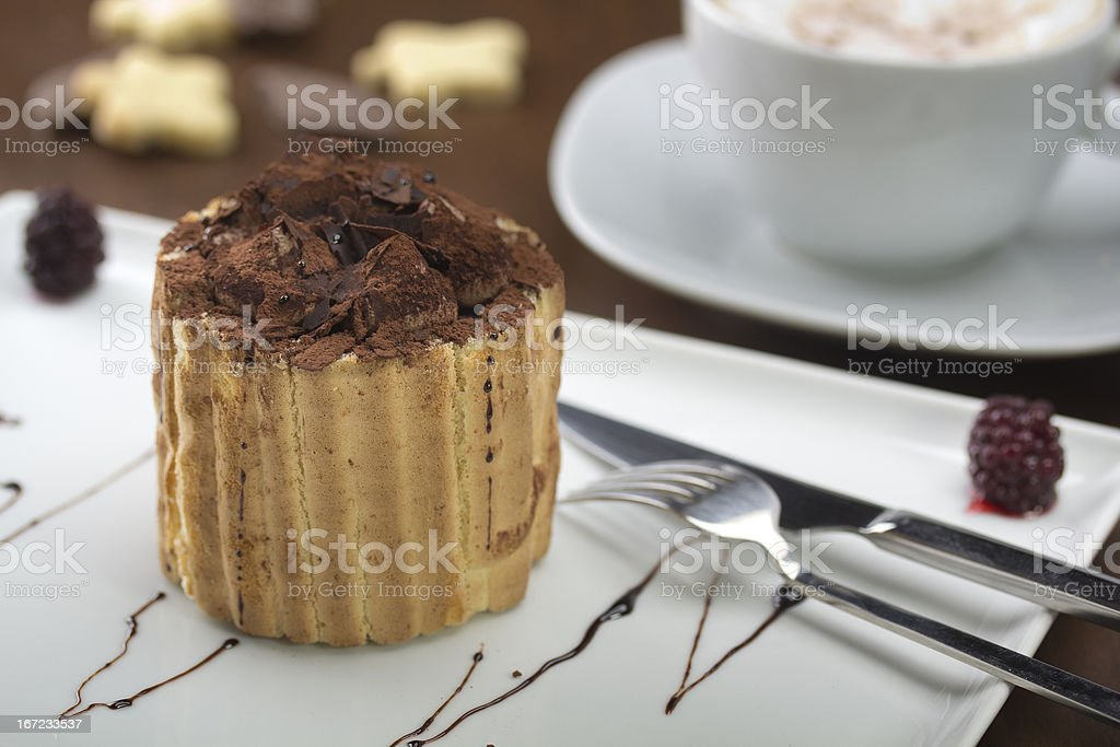Charlotte cake served with elegant style stock photo