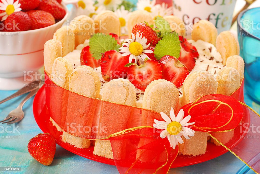 charlotte cake with strawberry royalty-free stock photo