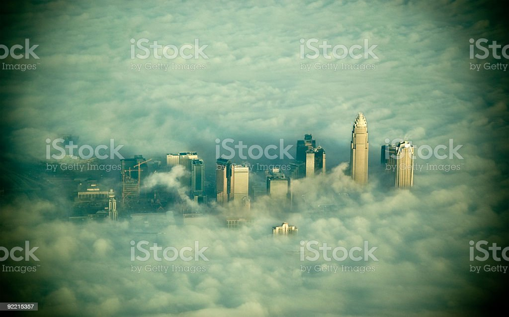 Charlotte City in the Clouds stock photo