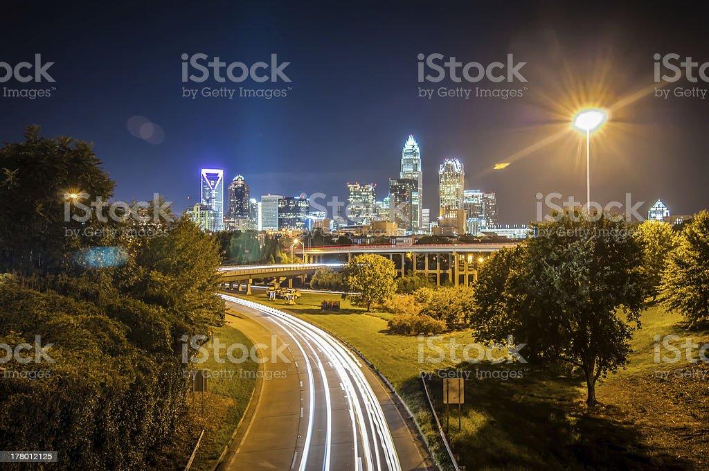 Charlotte City Skyline night scene royalty-free stock photo