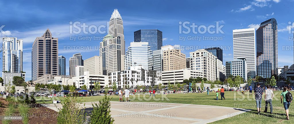 Charlotte Downtown skyscrapers panorama from Romere bearden park stock photo