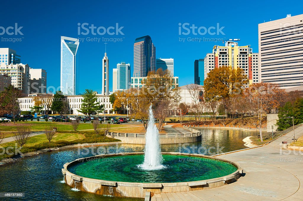 Charlotte Downtown Skyscrapers, with a Park and Fountain stock photo