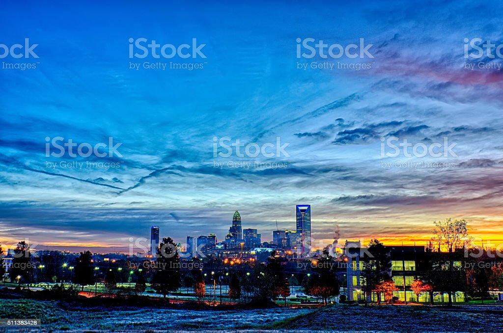 charlotte north carolina early  morning sunrise stock photo