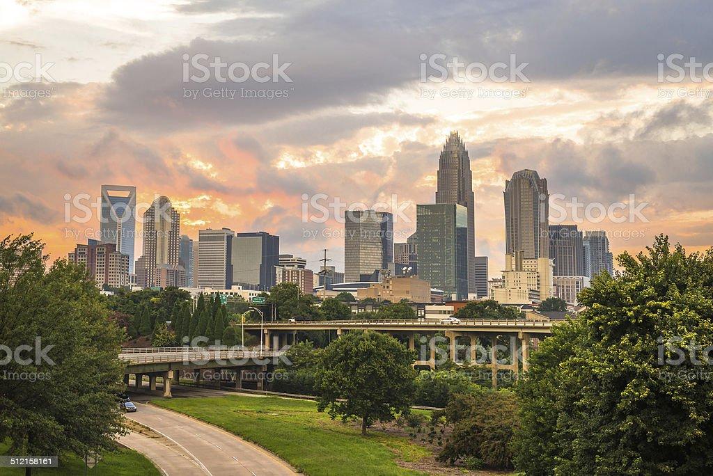 Charlotte, North Carolina Sunset 3 stock photo