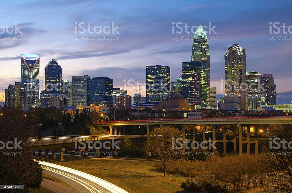 Charlotte skyline at dusk stock photo