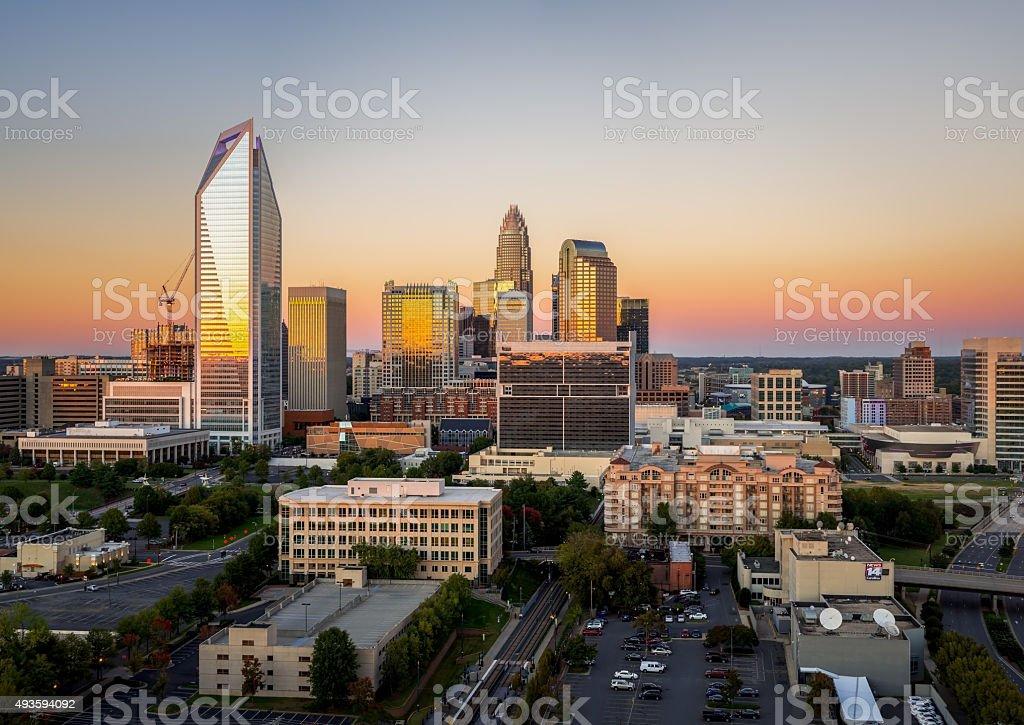 Charlotte Skyline At Sunset stock photo