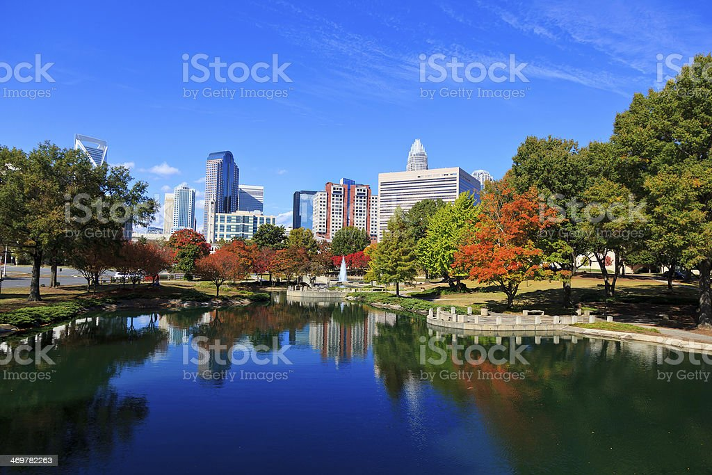 Charlotte Skyline from Marshall Park stock photo