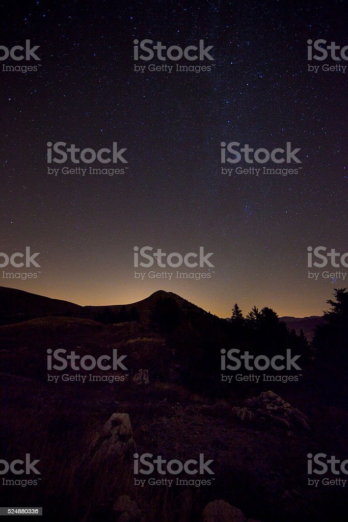 Charmant Som at night - Chartreusse mountains stock photo