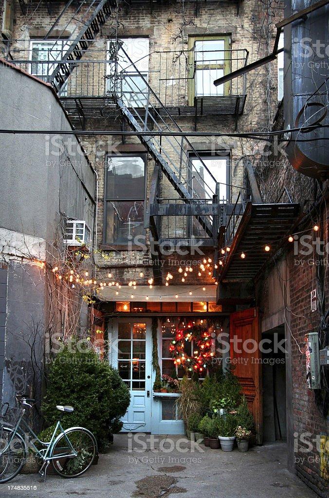 charming alley restaurant stock photo
