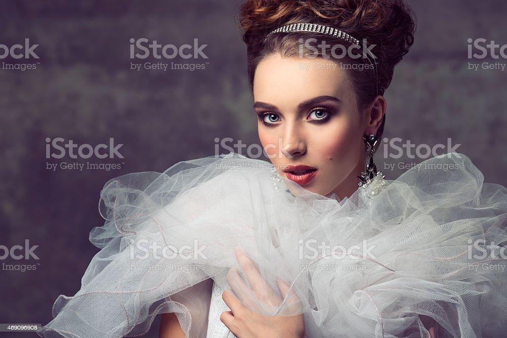 charming aristocratic vintage woman stock photo