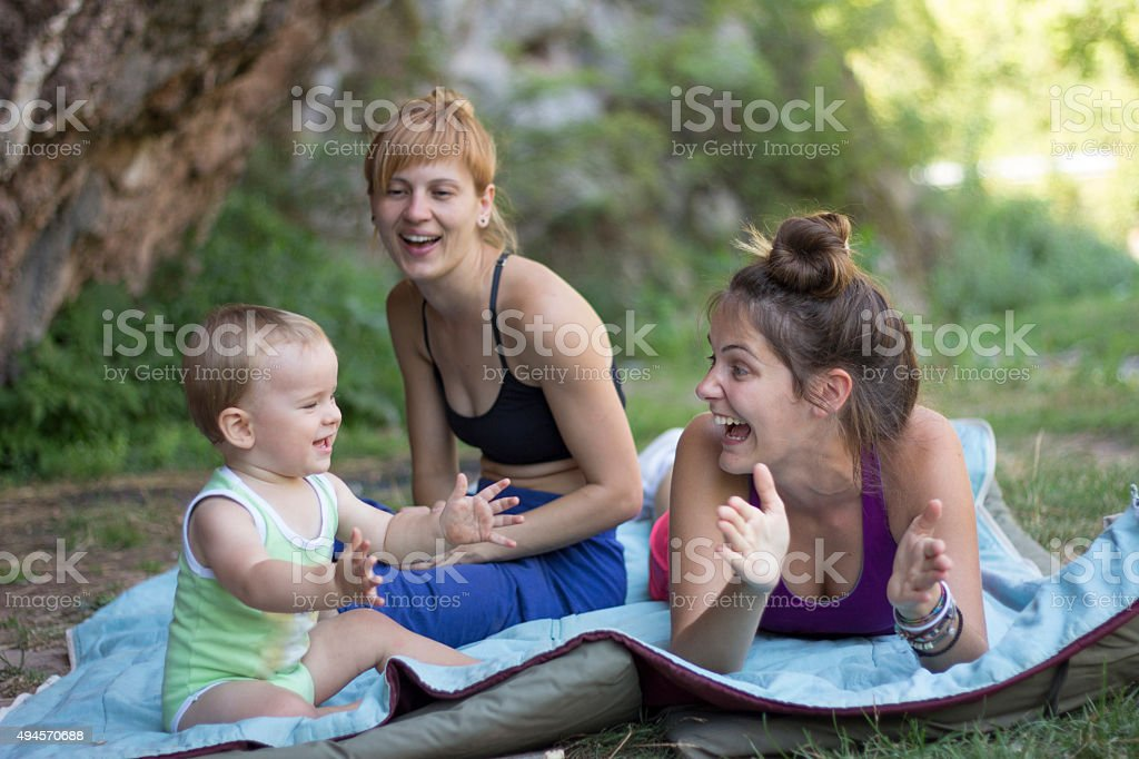 Charming baby clapping stock photo